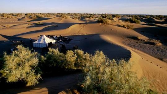 le campement entre les dunes