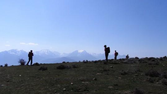 Sur le plateau du Tenda, vue sur le massif du Monte Cintu